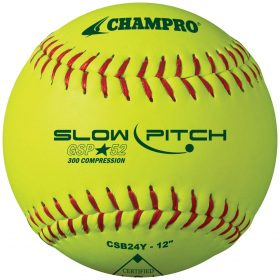 Champro Csb20Y 12'' Asa Synthetic Slowpitch Softball - 1 Dozen | 12In. Optic Yellow