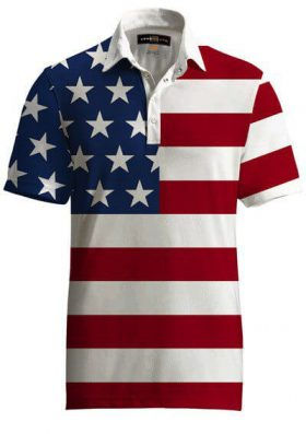 LOUDMOUTH FANCY STARS AND STRIPES USA GOLF SHIRT - FLAG PRINT - XL