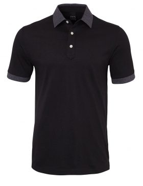 DUNNING DUNNET NATURAL HAND GOLF SHIRT - BLACK CHAR HTHR - XXL